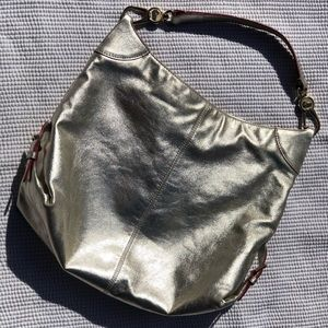 Dooney & Bourke Silver Leather Hobo Bag